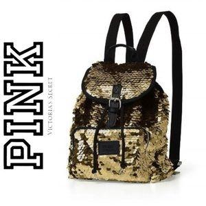PINK Victoria's Secret Gold Sequin Backpack